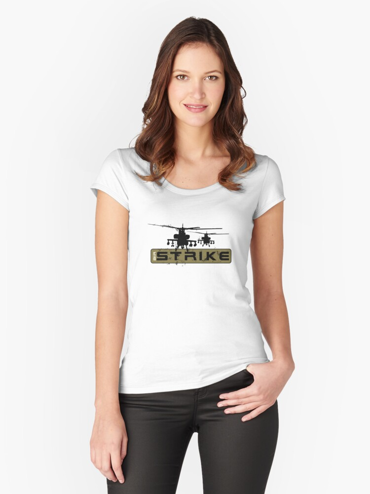 AH-64 Apache Helicopters Air Strike Women's Fitted Scoop T-Shirt Front