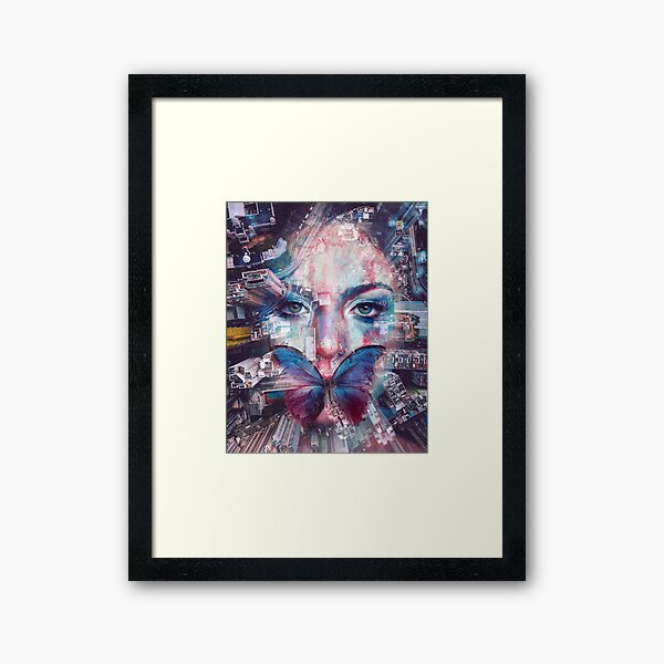 Butterfly Lady in the City Framed Art Print