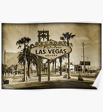 Welcome To Las Vegas Sign Series 2 of 6 Sepia Grunge Poster