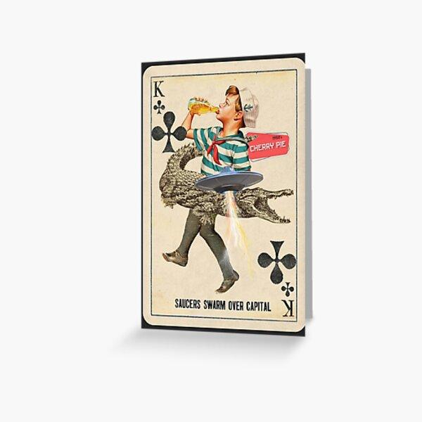 Fifties Playing Card Drinking Boy Alligator UFO Greeting Card