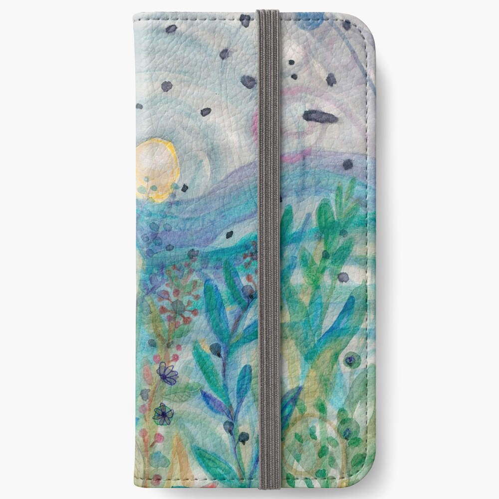 Blissful Nature, Nude Gitl in Garden, Music, Plants Floral Sunset iPhone Wallet