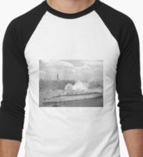 Camiseta ¾ bicolor para hombre Vintage New York Harbour and Queen Mary Photograph