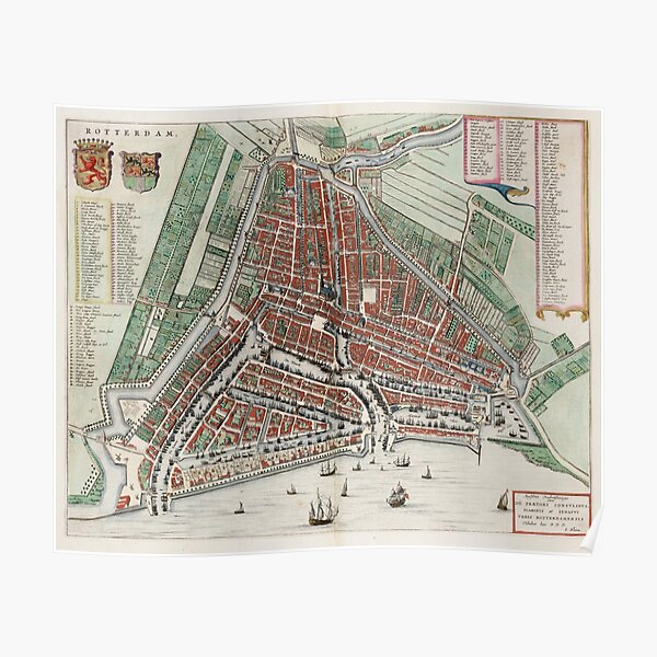 Vintage Map of Rotterdam Netherlands (1649) 2 Poster