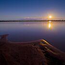 Full moon over Lake Broadwater Regional Park by Robert Ashdown