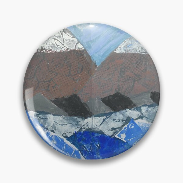 Snow Topped Mountains over the Ocean Print Work Pin