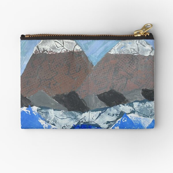 Snow Topped Mountains over the Ocean Print Work Zipper Pouch