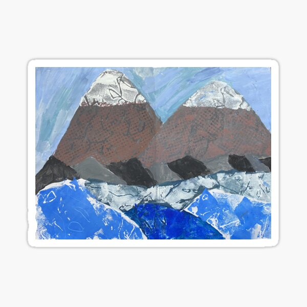 Snow Topped Mountains over the Ocean Print Work Sticker