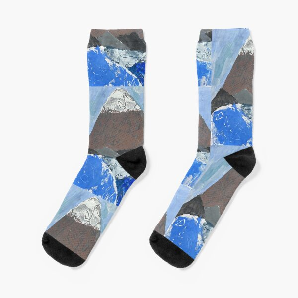 Snow Topped Mountains over the Ocean Print Work Socks