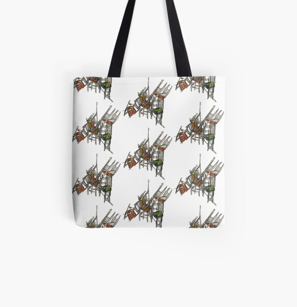 Crazy Stacking Chairs All Over Print Tote Bag