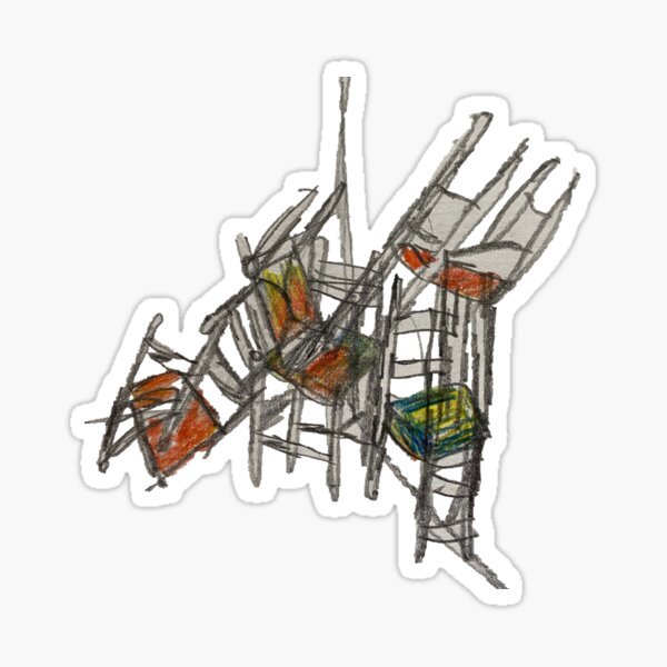 Crazy Stacking Chairs Sticker