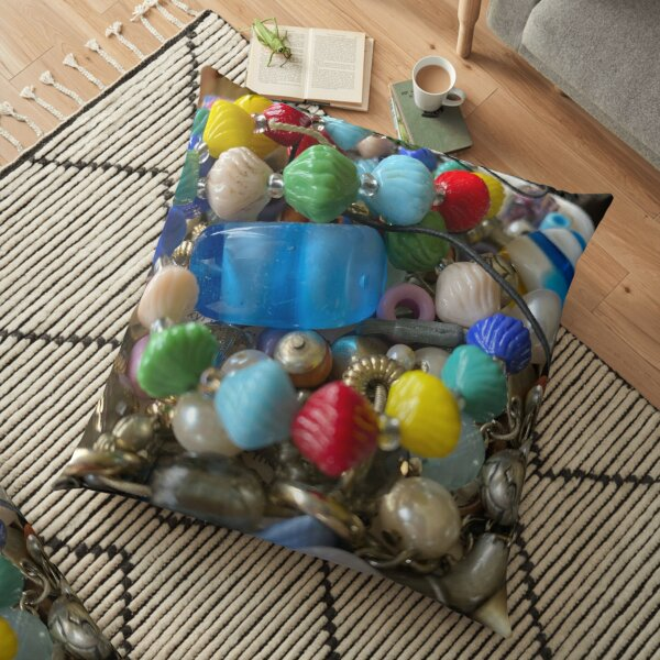 Colourful Bead Pile 'Looks Like Candy' Floor Pillow