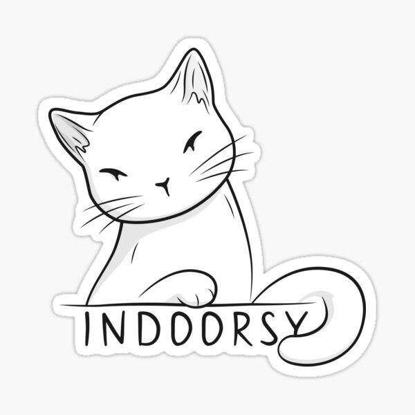 Indoorsy little white cat Sticker