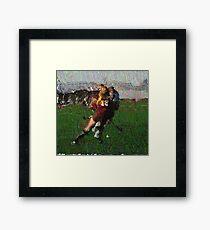 110711 162 0 pointillist field hockey displace Framed Print