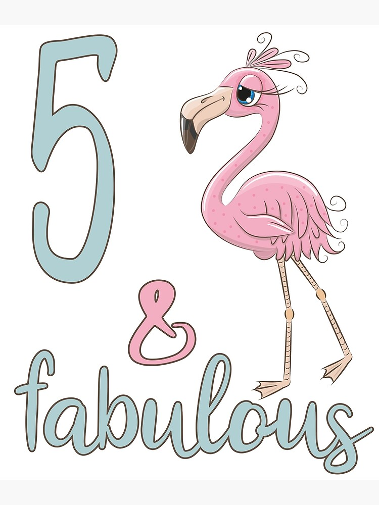5th Bday Girl Gift Fabulous Flamingo 5 Years Old Birthday Party Outfit For Daughter Niece Greeting Card By Stella1 Redbubble