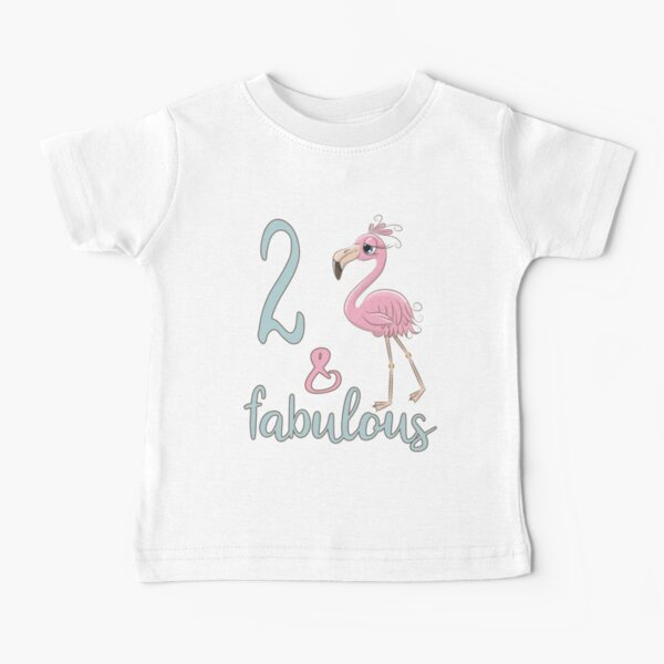2nd Bday Girl Gift Fabulous Flamingo 2 Years Old Toddler Birthday Party Outfit For 2T Daughter Niece Baby T-Shirt