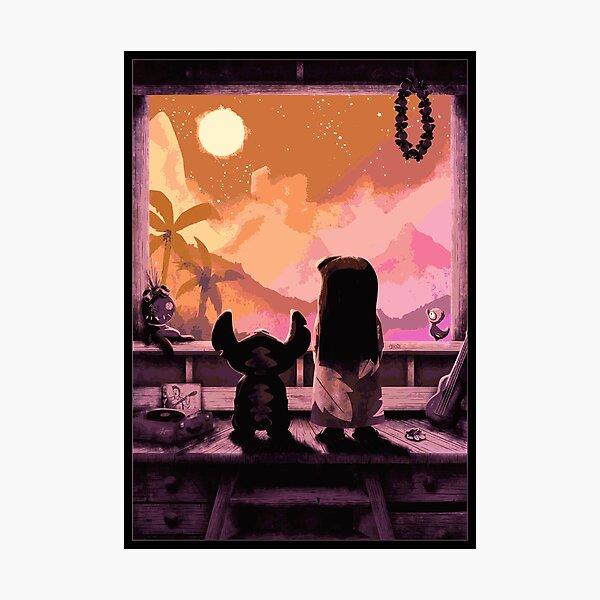 Lilo y Stitch - Ilustraciones de Sunset Lámina fotográfica