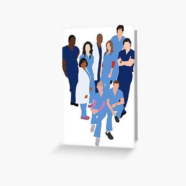 Greys Anatomy Character Silhouette Greeting Card