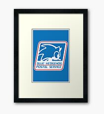 BLUE HEDGEHOG POSTAL SERVICE Framed Print