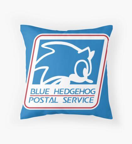 BLUE HEDGEHOG POSTAL SERVICE Throw Pillow