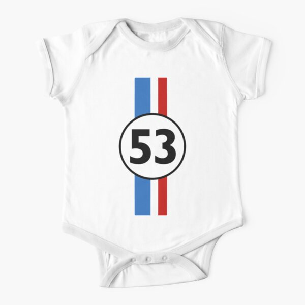 Herbie 53 Classic Racing Car 1963 Circle Logo #2 Short Sleeve Baby One-Piece