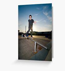 Skateboarder on a slide Greeting Card