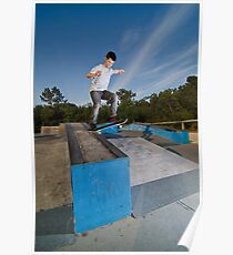 Skateboarder on a slide Poster