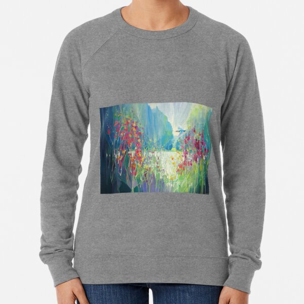 The King of the River , painting of a kingfisher flying along a riverbank of wild flowers Lightweight Sweatshirt