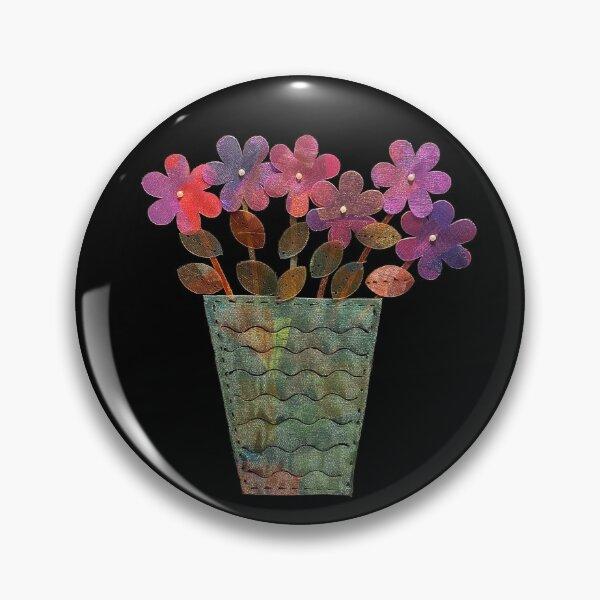 Purple Shimmer Flowers in Vase Pin