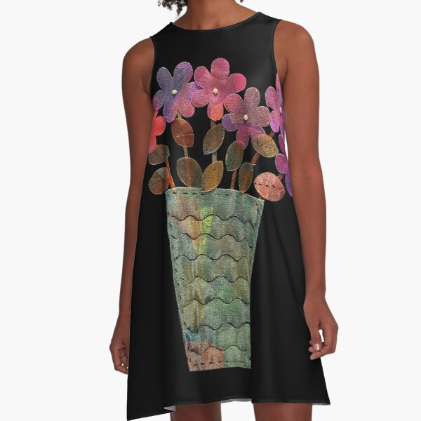 Purple Shimmer Flowers in Vase A-Line Dress