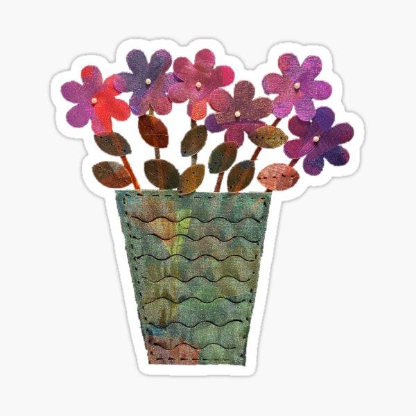 Purple Shimmer Flowers in Vase Sticker