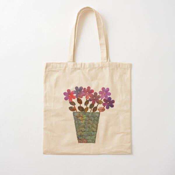 Purple Shimmer Flowers in Vase Cotton Tote Bag