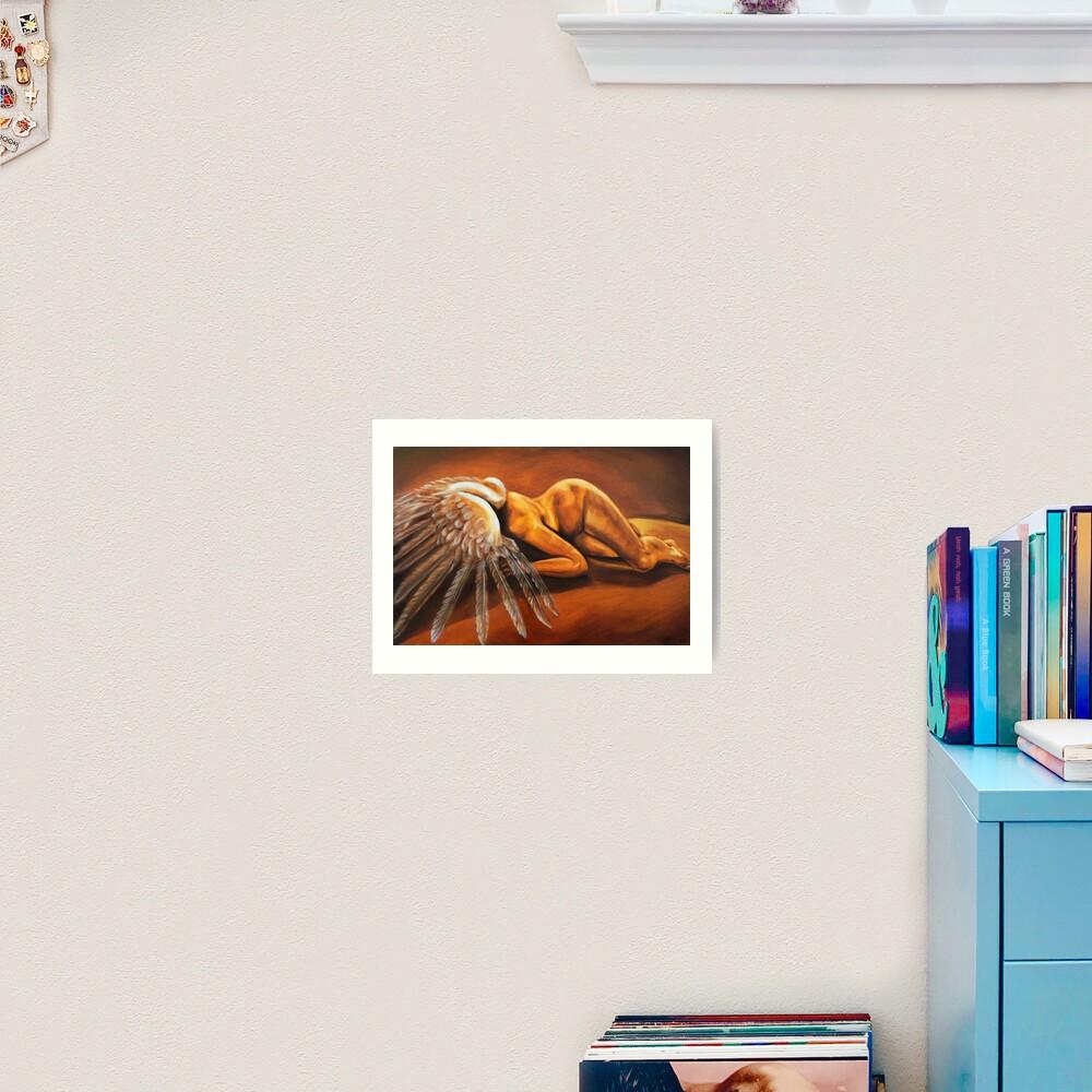 Fallen - fallen nude angel emotive oil painting Art Print