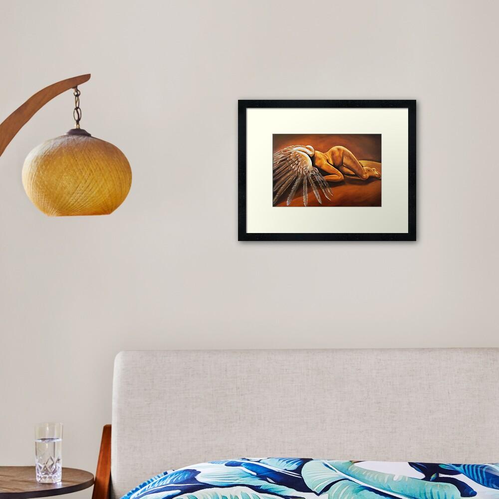 Fallen - fallen nude angel emotive oil painting Framed Art Print