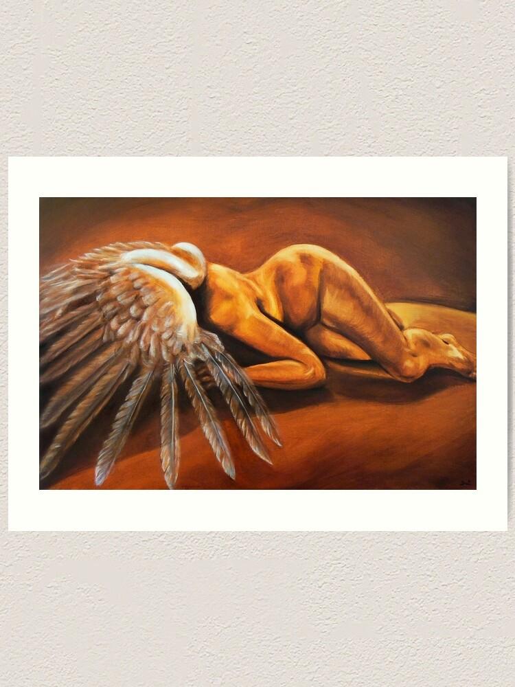 Alternate view of Fallen - fallen nude angel emotive oil painting Art Print