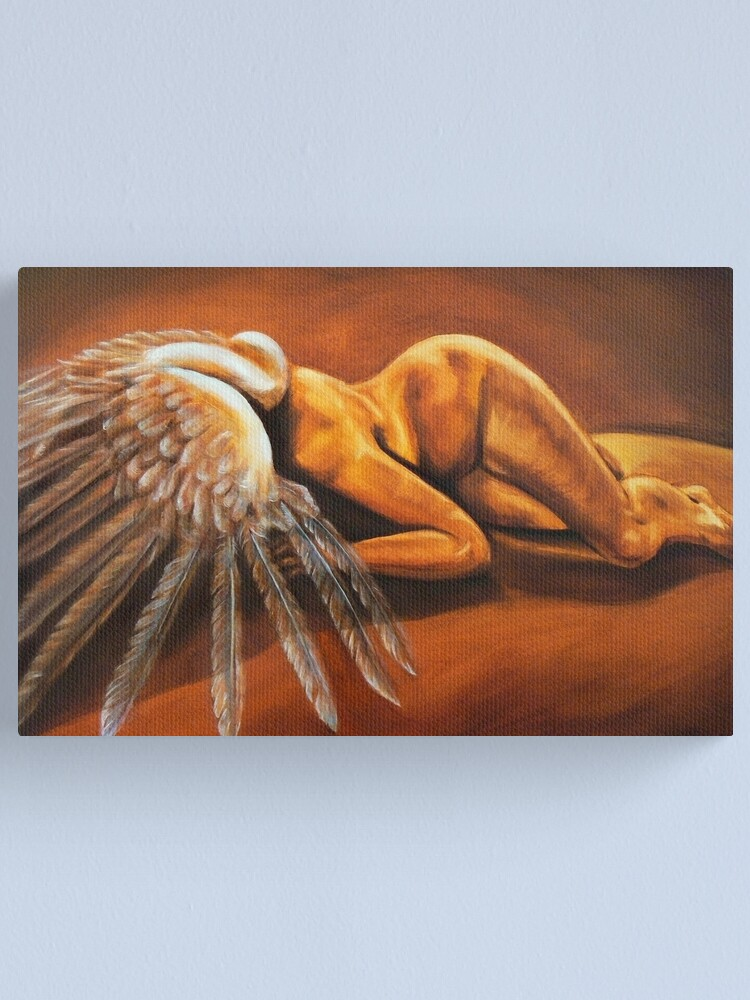 Alternate view of Fallen - fallen nude angel emotive oil painting Canvas Print