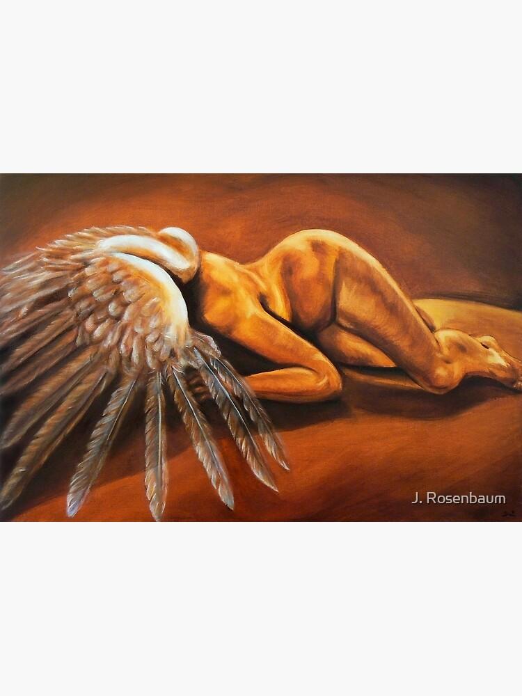 Fallen - fallen nude angel emotive oil painting by Jennie