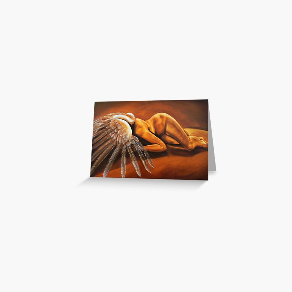 Fallen - fallen nude angel emotive oil painting Greeting Card
