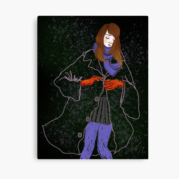 Girl with large Jacket Canvas Print