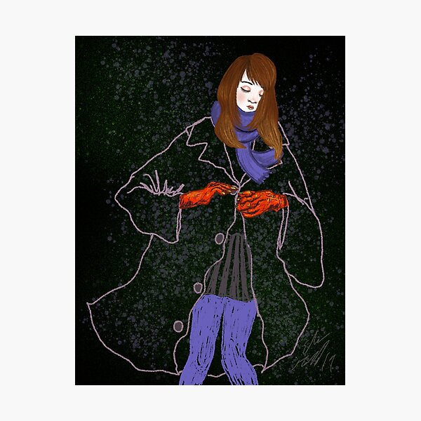Girl with large Jacket Photographic Print