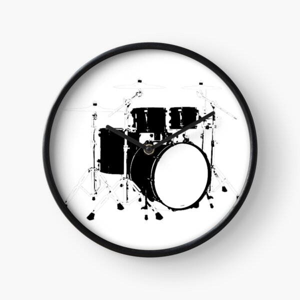 Black and White Drumset Clock