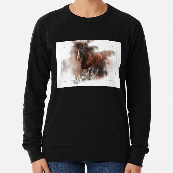 Shire Horse Pferd springt aus dem Rahmen Leichter Pullover