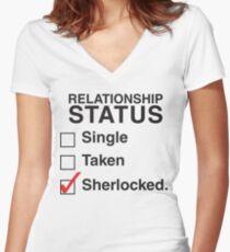 SINGLE TAKEN SHERLOCKED Women's Fitted V-Neck T-Shirt