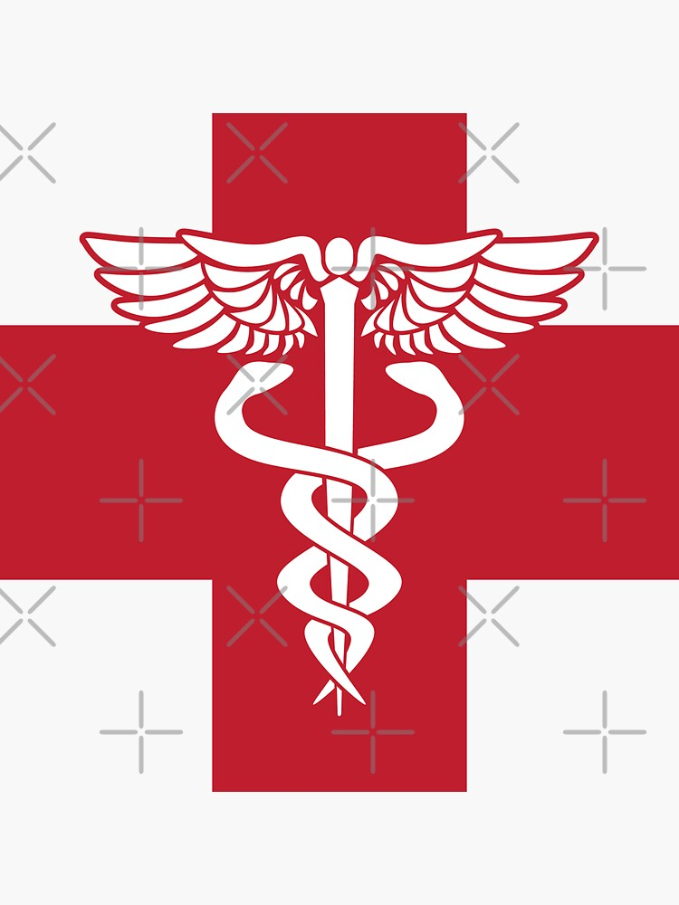 Medical Health Care Red Cross with Caduceus Symbol by hobrath