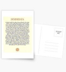 Tan Sunburst DESIDERATA Postcards