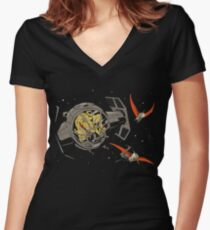 Tie-Rex Women's Fitted V-Neck T-Shirt