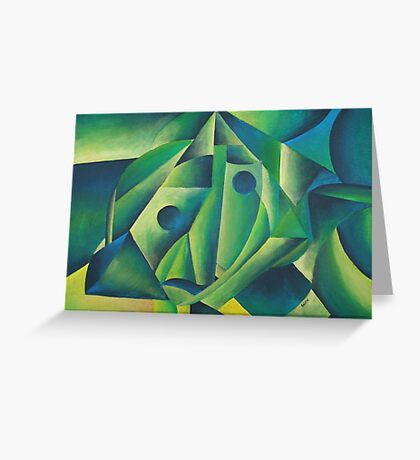 Cubist Abstract Of Village Woman Wearing A Headscarf Greeting Card