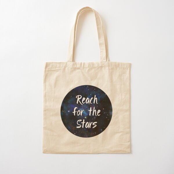 Reach for the Stars Galaxy Nebula Inspirational Quote Cotton Tote Bag