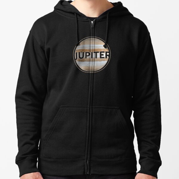 Planet Jupiter with lettering gift space idea Zipped Hoodie