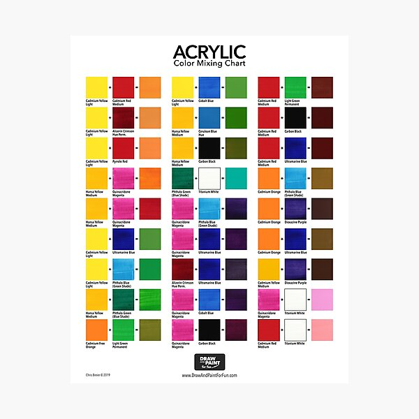 Acrylic Color Mixing Chart Photographic Print