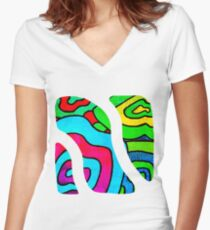 BINGE - Psychedelic artwork Women's Fitted V-Neck T-Shirt